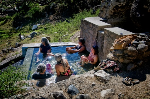 Family in Natural Hot Springs